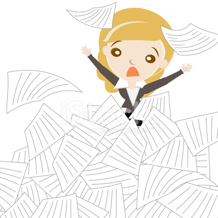 54506132-cartoon-business-woman-sinking-in-overload-of-paper-works